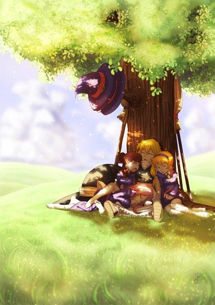 Tags: Anime, Grimanoir, Little Witch Academia, Touhou, Kagari Atsuko, Kirisame Marisa, Sucy Manbavaran, Lotte Yanson, Under A Tree, deviantART, Fanart From DeviantART, Fanart