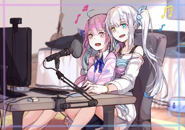 Tags: Anime, Pixiv Id 3084860, Aqua Ch., Hololive, Kagura Mea (Channel), Minato Aqua, Kagura Mea, Fanart From Pixiv, Pixiv, Fanart
