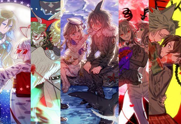 Tags: Anime, MaJiang, Obsolete Dream, Oounabara to Wadanohara, Gray Garden, Mogeko Castle, Defect Mogeko, Tatsumiya (Wadanohara), Kurai Yonaka, Samekichi, Hanten (Obsolete Dream), Kurotsuno, Sherbet (Gray Garden)