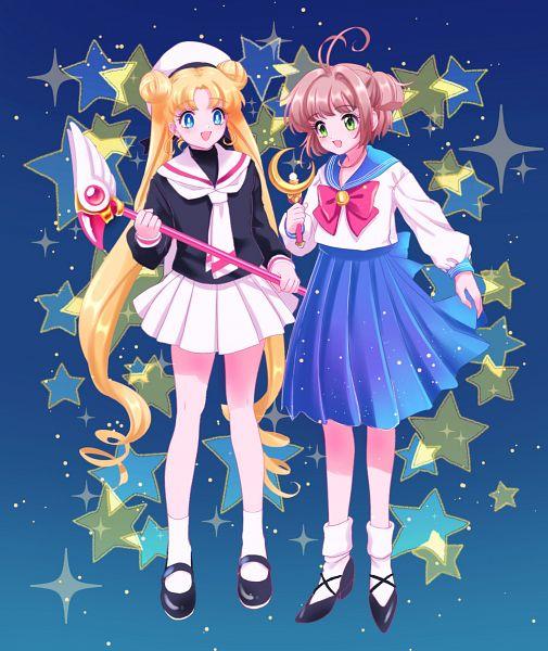 Tags: Anime, Kisumi Rei, Cardcaptor Sakura, Bishoujo Senshi Sailor Moon, Kinomoto Sakura, Sailor Moon (Character), Tsukino Usagi, Sailor Moon (Character) (Cosplay), Sealing Wand (Dormant Form), Moon Stick, Kinomoto Sakura (Cosplay), Tsukino Usagi (Cosplay), Pixiv