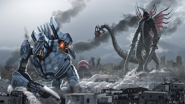 Tags: Anime, Ldn-rdnt, Pacific Rim, Godzilla (Series), Gigan, Striker Eureka, Crimson Typhoon, Fanart From DeviantART, deviantART, Fanart, Jaeger