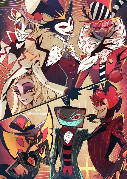 Tags: Anime, Kyo (Pixiv926977), Helluva Boss, Hazbin Hotel, Lilith (Hazbin), Stolas (Helluva Boss), Lucifer (Hazbin), Valentino (Hazbin), Sir Pentious, Vox (Hazbin), Alastor (Hazbin), Pixiv