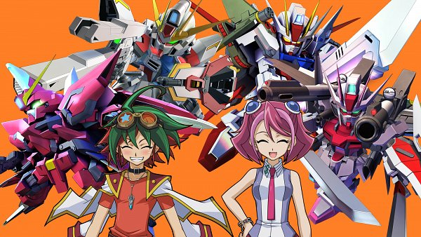 Tags: Anime, Mobile Suit Gundam SEED, Gundam Build Fighters, SD Gundam G Generation, Yu-Gi-Oh! ARC-V, GAT-X105B/ST Star Build Strike Gundam, Hiiragi Yuzu, Sakaki Yuya, Strike Gundam, Strike Rouge Gundam, Aegis Gundam, Build Strike Gundam, Edited