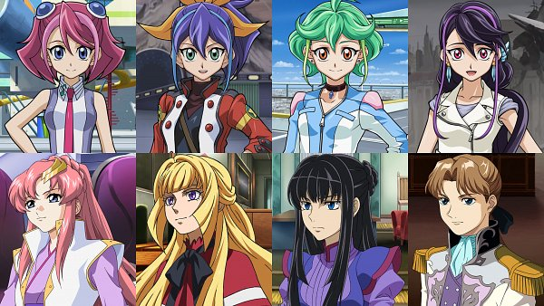 Tags: Anime, Mobile Suit Gundam 00, Mobile Suit Gundam Wing, Mobile Suit Gundam SEED, Kidou Senshi Gundam: Tekketsu no Orphans, Yu-Gi-Oh!, Yu-Gi-Oh! ARC-V, Serena (Yu-Gi-Oh! ARC-V), Relena Peacecraft, Kurosaki Ruri, Kudelia Aina Bernstein, Hiiragi Yuzu, Rin (Yu-Gi-Oh! ARC-V)