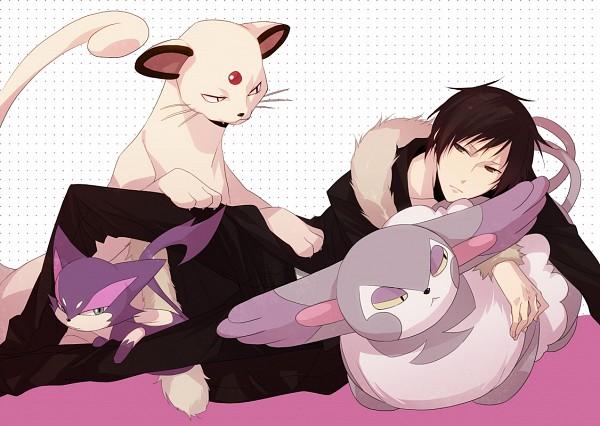 Tags: Anime, ryugo, DURARARA!!, Pokémon, Purrloin, Orihara Izaya, Purugly, Persian, Fanart, Pixiv