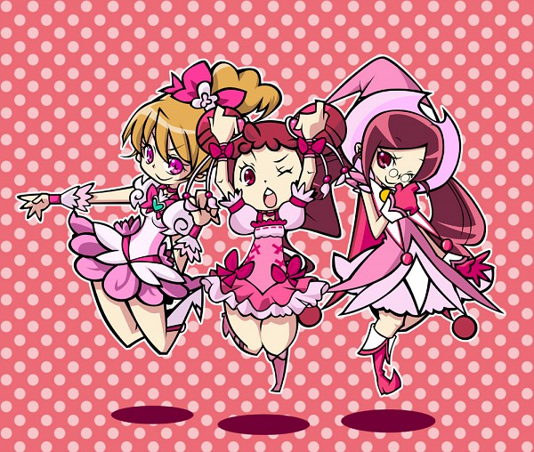 Tags: Anime, Hrslt, Ojamajo DoReMi, Heartcatch Precure!, Fresh Precure!, Harukaze Doremi, Hanasaki Tsubomi, Momozono Love, Harukaze Doremi (Cosplay), Cure Peach (Cosplay), Cure Blossom (Cosplay), Fanart, Pixiv