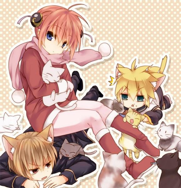 Tags: Anime, Punchiki, Gintama, VOCALOID, Okita Sougo, Kagamine Len, Kagura (Gin Tama)