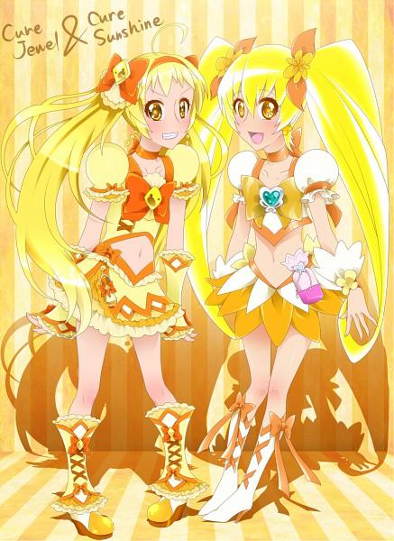 Tags: Anime, 0417nao, Pretty Cure Fan Series, Shuffle! Precure, Heartcatch Precure!, Cure Jewel, Myoudouin Itsuki, Cure Sunshine, Kihara Mirai, Pixiv, Fanart From Pixiv, Original, Fanart
