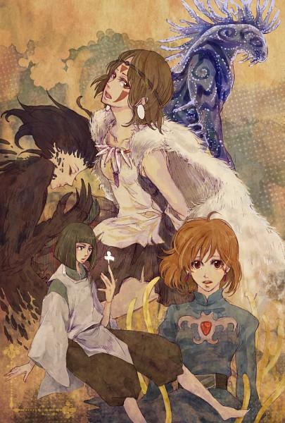 Tags: Anime, 392 (Artist), Sen to Chihiro no Kamikakushi, Howl no Ugoku Shiro, Mononoke Hime, Kaze no Tani no Nausicaä, Nausicaa, Howl, Forest Spirit, San (Mononoke Hime), Haku (Sen to Chihiro no Kamikakushi), Company Connection, Pixiv