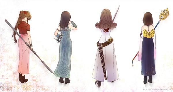 Tags: Anime, Cokura, SQUARE ENIX, Final Fantasy VII, Final Fantasy VIII, Final Fantasy X, Final Fantasy IX, Yuna, Aerith Gainsborough, Beatrix (Final Fantasy IX), Rinoa Heartilly, Pixiv, Fanart