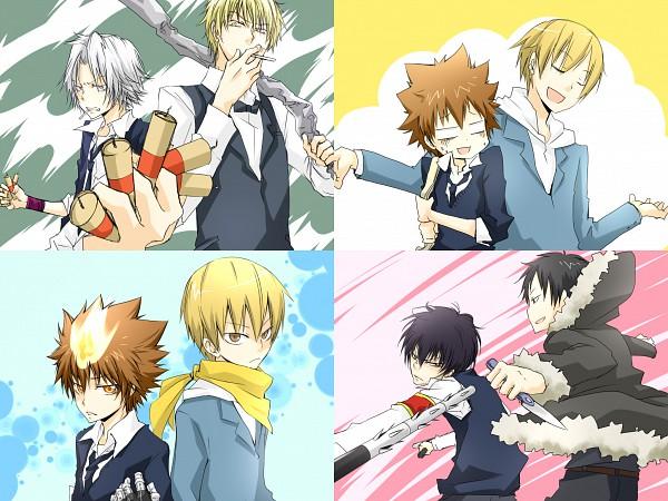 Tags: Anime, Hana Azuki, Katekyo Hitman REBORN!, DURARARA!!, Heiwajima Shizuo, Gokudera Hayato, Kida Masaomi, Orihara Izaya, Hibari Kyoya, Sawada Tsunayoshi, = =, Tonfa, Fanart