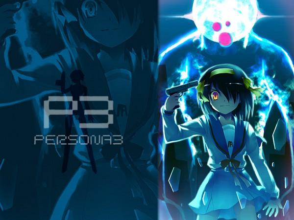 Tags: Anime, Suzumiya Haruhi no Yuuutsu, Shin Megami Tensei: PERSONA 3, Aegis, Suzumiya Haruhi, Shin Megami Tensei: PERSONA 3 (Parody), Persona (Parody), Aiming At Own Head, Evoker, Wallpaper