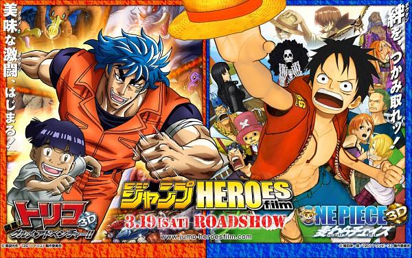 Tags: Anime, Shimabukuro Mitsutoshi, Toriko, ONE PIECE, Monkey D. Luffy, Toriko (Character), Wallpaper, Official Art, Straw Hat Pirates