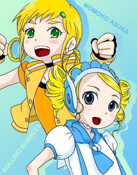 Tags: Anime, Pixiv Id 2128928, Ojamajo DoReMi, Power Puff Girls Z, Rolling Bubbles, Goutokuji Miyako, Asuka Momoko, Fanart, Pixiv