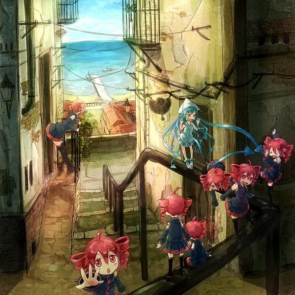 Tags: Anime, Same 2009, Yuru Yuri, Shinryaku! Ikamusume, UTAU, Akaza Akari, Ikamusume, Kasane Teto, Fanart, Fanart From Pixiv, Pixiv