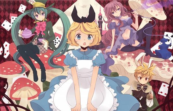 Tags: Anime, Oluha, Alice in Wonderland, VOCALOID, Kagamine Rin, Alice (Alice in Wonderland), Megurine Luka, Hatsune Miku, Kagamine Len