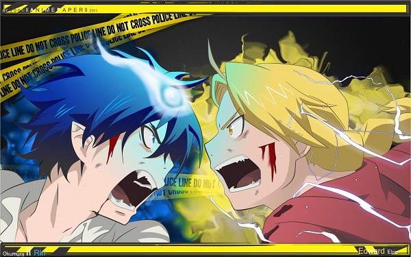 Tags: Anime, Fullmetal Alchemist, Ao no Exorcist, Edward Elric, Okumura Rin, Crime Scene Tape, HD Wallpaper, Wallpaper, Fanart