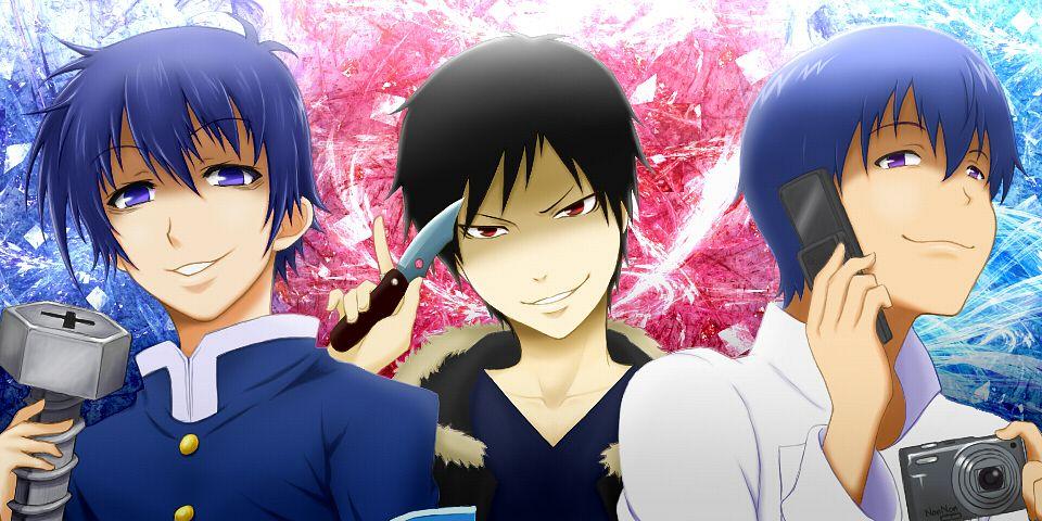 Tags: Anime, Pixiv Id 23675006, DURARARA!!, Medaka Box, Working!!, Kumagawa Misogi, Orihara Izaya, Souma Hiroomi, Screws, Fanart, Facebook Cover