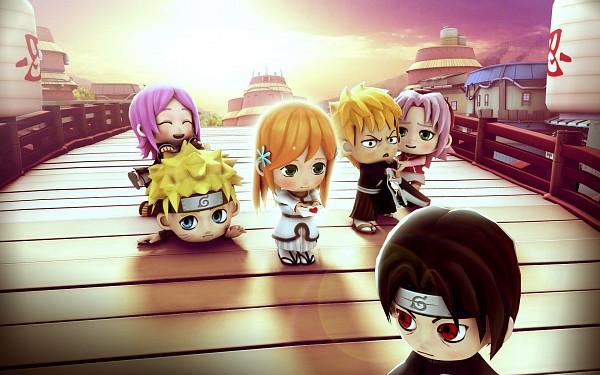 Tags: Anime, Pockie Ninja, BLEACH, NARUTO, Uchiha Itachi, Kusajishi Yachiru, Inoue Orihime, Uzumaki Naruto, Kurosaki Ichigo, Haruno Sakura, Bankai, Wallpaper, Akatsuki (NARUTO)