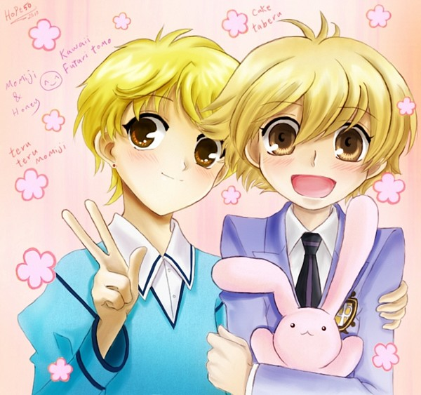 Tags: Anime, Ouran High School Host Club, Fruits Basket, Haninozuka Mitsukuni, Usa-chan, Sohma Momiji, Artist Request, Fanart