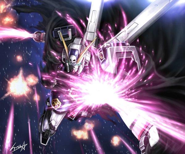 Tags: Anime, Eblmeka, Mobile Suit Crossbone Gundam, Glowing Weapons, Explosion, Crossbone Gundam X-1, Laser Beam
