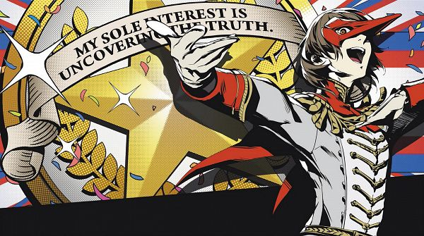 Tags: Anime, Soejima Shigenori, Atlus, Shin Megami Tensei: PERSONA 5, Crow (Persona 5), Akechi Goro, Finger On Cheek, Laurel Wreath, Wallpaper, CG Art, Official Art
