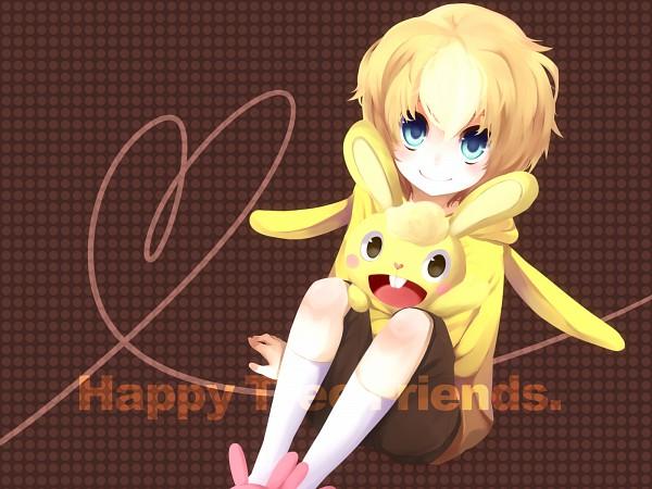 Tags: Anime, Shiduki Sayaka, Happy Tree Friends, Cuddles (HTF), Brown Shorts, Bunny Slippers, Yellow Outerwear