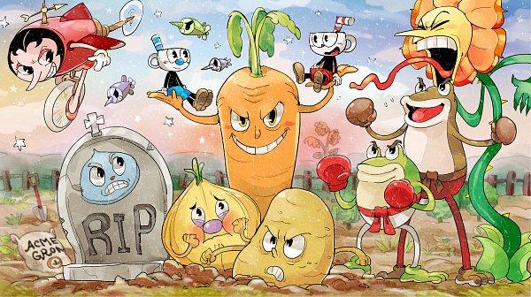Tags: Anime, Pixiv Id 10438084, Cuphead, Cagney Carnation, Weepy, Psycarrot, Moe Tato, Hilda Berg, Croaks, Mugman, Ribby, Cuphead (Character), Goopy Le Grande