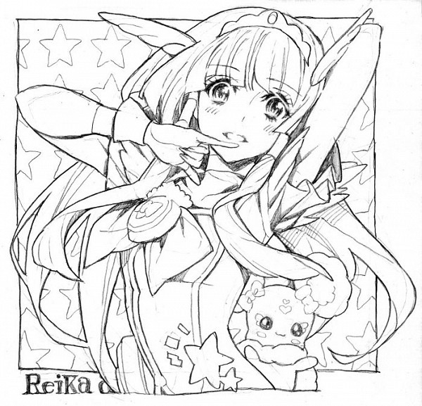 Tags: Anime, Nobita, Smile Precure!, Candy (Smile Precure), Aoki Reika, Cure Beauty, Sketch, Fanart, Pixiv