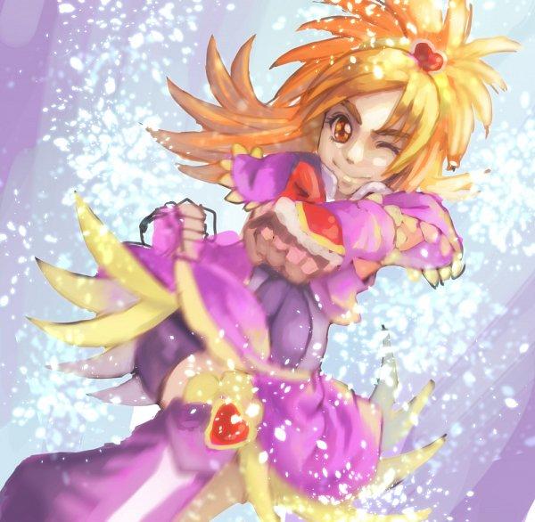 Tags: Anime, shishitsutsushi, Futari wa Precure Splash Star, Hyuuga Saki, Cure Bloom, Punching, Pink Shorts, Fanart, Pixiv, Fanart From Pixiv