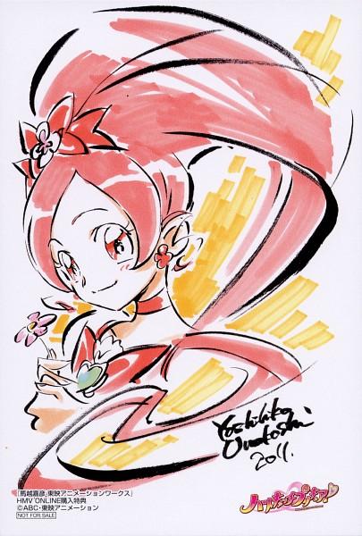 Tags: Anime, Umakoshi Yoshihiko, Heartcatch Precure!, Hanasaki Tsubomi, Cure Blossom, Post Card, Official Art, Scan