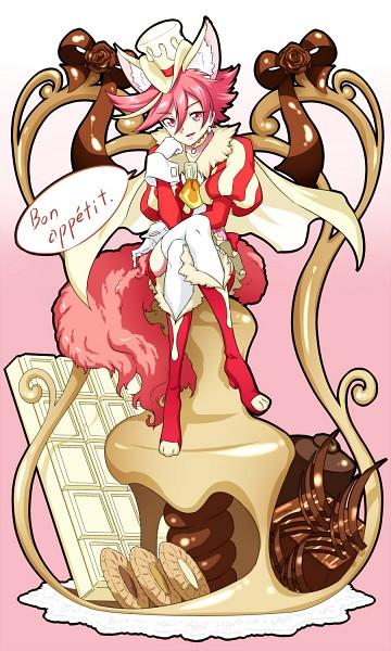 Tags: Anime, Pixiv Id 3411146, Kirakira☆Precure a la Mode, Cure Chocolat, Kenjou Akira, French Text, Dog Tail, White Chocolate, Red Shorts, Pixiv, Fanart, Fanart From Pixiv, Twitter