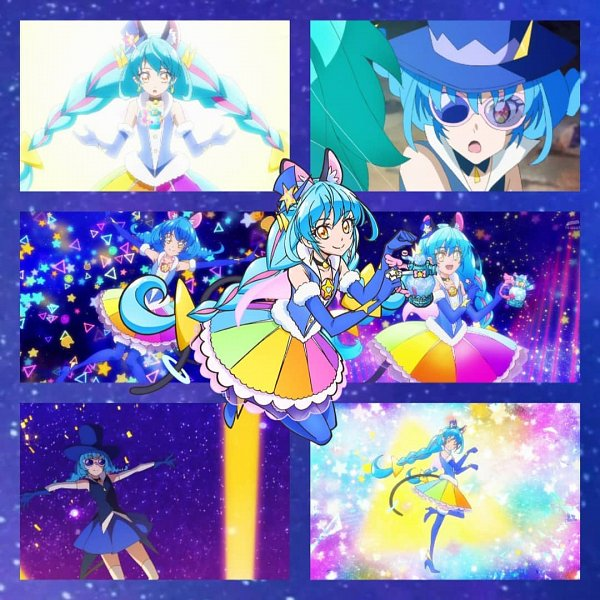 Tags: Anime, Star☆Twinkle Precure, Cure Cosmo, Yuni (Precure), Kaitou Blue Cat, Perfume Bottle, Collage, Edited