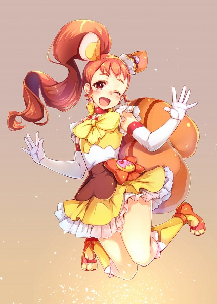 Tags: Anime, Pixiv Id 2881905, Kirakira☆Precure a la Mode, Arisugawa Himari, Cure Custard, Risumimi, Pudding, Orange Bow, Mobile Wallpaper, Pixiv, Fanart, Fanart From Pixiv