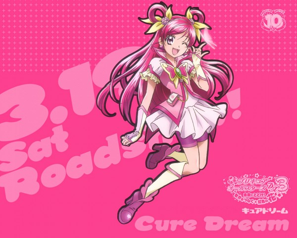 Tags: Anime, Kawamura Toshie, Yes! Precure 5, Yumehara Nozomi, Cure Dream, Animal on Hand, I Love You Gesture, Butterfly on Hand, Official Art
