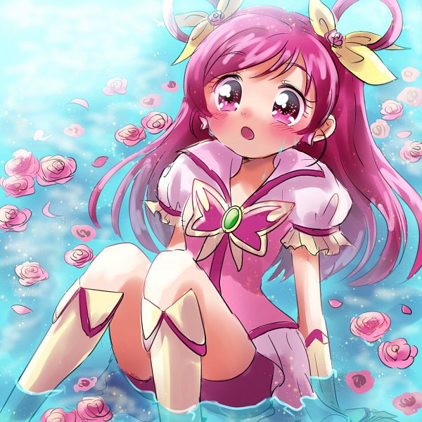 Tags: Anime, Pixiv Id 1706251, Yes! Precure 5, Yumehara Nozomi, Cure Dream, Pink Shorts, Sitting In Water, Fanart From Pixiv, Fanart, Twitter, Pixiv, Tumblr