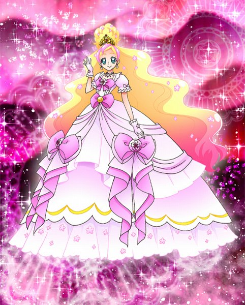 Tags: Anime, Go! Princess Precure, Precure Tsunagaru Puzzlun, Cure Flora, Haruno Haruka, Official Card Illustration, Card (Source), Official Art