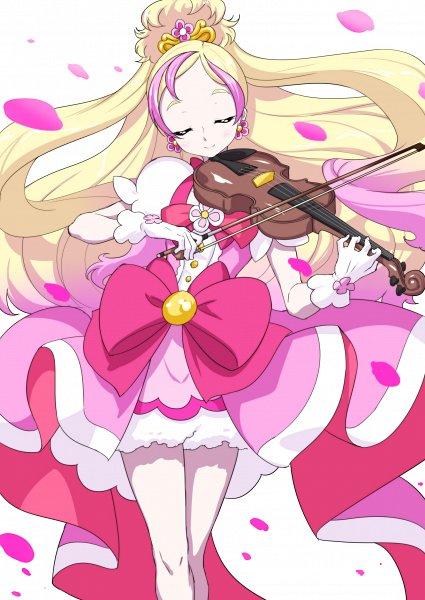 Tags: Anime, Pixiv Id 3411146, Go! Princess Precure, Haruno Haruka, Cure Flora, Fashionable, Playing Violin, Pixiv, Fanart, Fanart From Pixiv