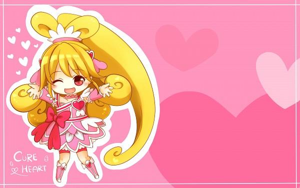 Tags: Anime, Pixiv Id 4507006, Dokidoki! Precure, Aida Mana, Cure Heart, Pink Shorts, Fanart From Pixiv, Pixiv, Wallpaper, Fanart