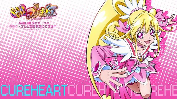 Tags: Anime, Takahashi Akira, Dokidoki! Precure, Cure Heart, Aida Mana, Pink Shorts, Official Wallpaper, Wallpaper, Official Art