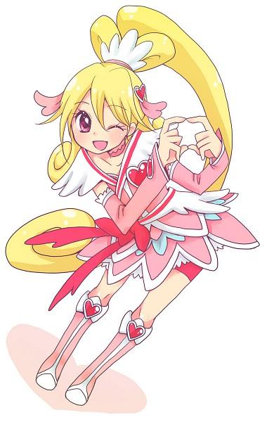 Tags: Anime, Pixiv Id 19665, Dokidoki! Precure, Aida Mana, Cure Heart, Pink Shorts, Heart Hair Ornament, Pixiv, Fanart, Fanart From Pixiv