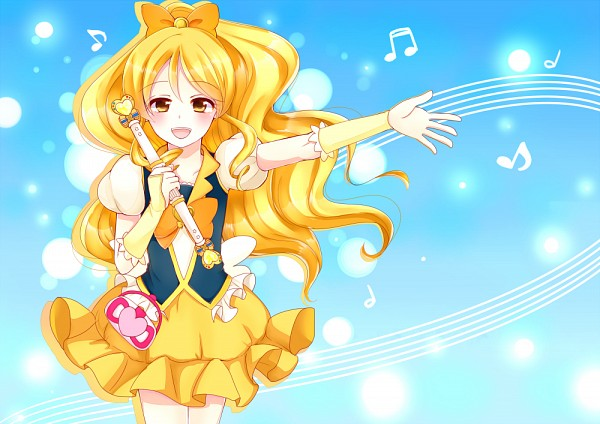 Tags: Anime, Pixiv Id 4507006, HappinessCharge Precure!, Cure Honey, Oumori Yuuko, Orange Bow, Yellow Skirt, Music Staff, Fanart From Pixiv, Pixiv, Fanart