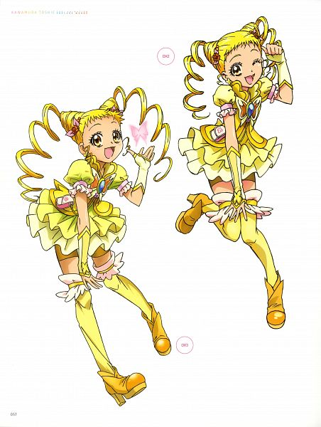 Tags: Anime, Kawamura Toshie, Toei Animation, Yes! Precure 5, Cure Lemonade, Kasugano Urara, Yellow, Official Art, Scan