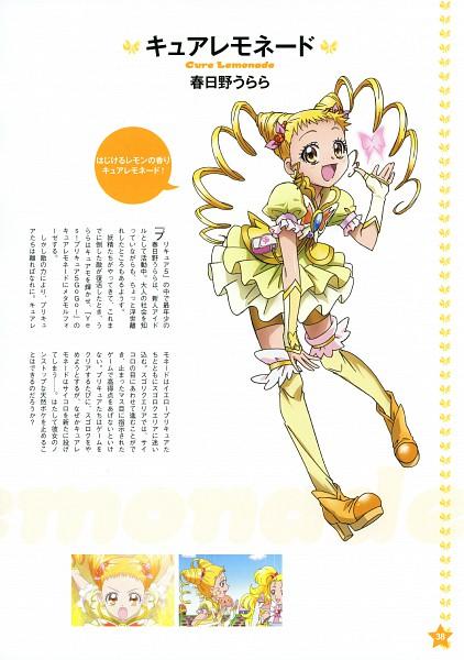 Tags: Anime, Kawamura Toshie, Yes! Precure 5, Precure Pia, Cure Lemonade, Kasugano Urara, Official Art, Mobile Wallpaper