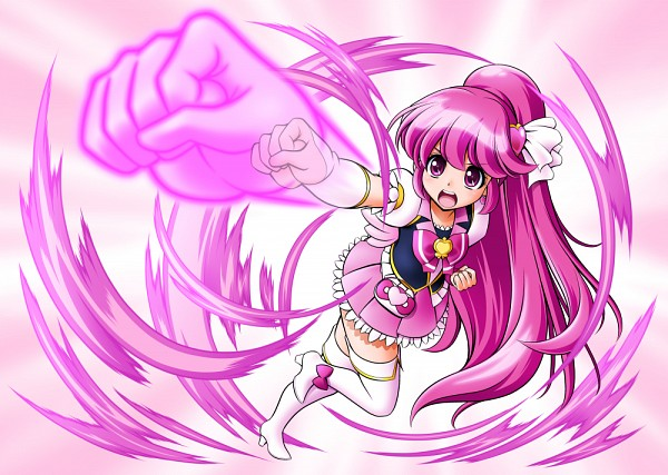 Tags: Anime, Mattsua, HappinessCharge Precure!, Aino Megumi, Cure Lovely, Punching, Fanart, Fanart From Pixiv, Pixiv