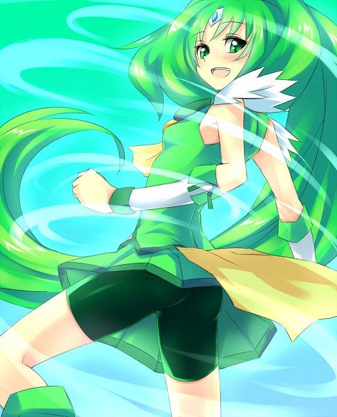 Tags: Anime, Keikotsu, Smile Precure!, Cure March, Midorikawa Nao, Green Shorts, Pixiv, Fanart, Fanart From Pixiv