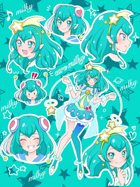 Tags: Anime, Pixiv Id 32013370, Star☆Twinkle Precure, Hagorumo Lala, Cure Milky, Aqua Dress, Pixiv, Fanart, Fanart From Pixiv