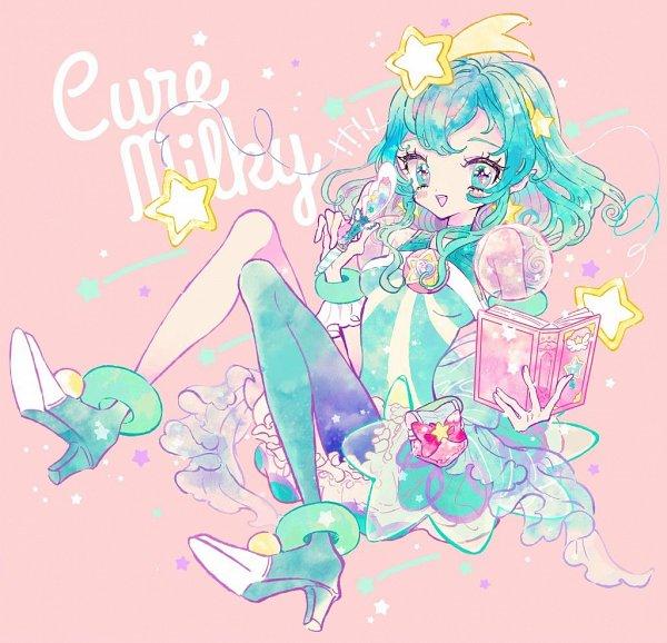 Tags: Anime, Pixiv Id 2150848, Star☆Twinkle Precure, Hagorumo Lala, Cure Milky, Aqua Dress, Twitter, Fanart