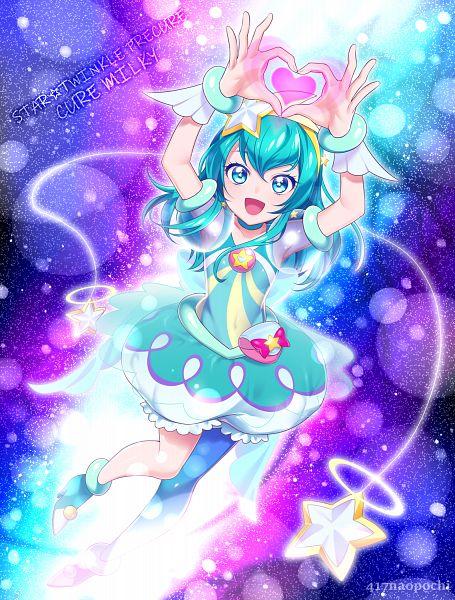 Tags: Anime, 0417nao, Star☆Twinkle Precure, Hagorumo Lala, Cure Milky, Aqua Dress, Fanart From Pixiv, Pixiv, Fanart