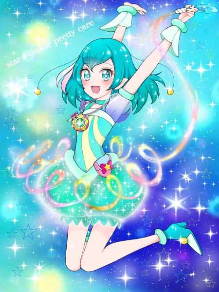Tags: Anime, Pixiv Id 32013370, Star☆Twinkle Precure, Cure Milky, Hagorumo Lala, Aqua Dress, Fanart From Pixiv, Pixiv, Fanart